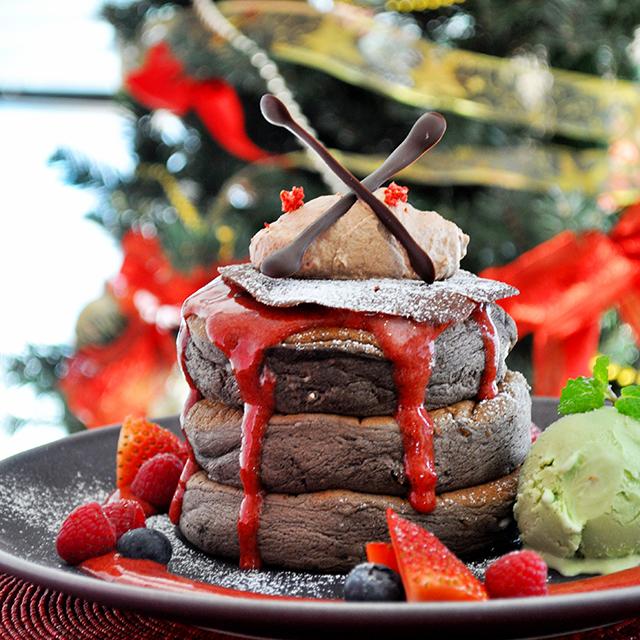 冬季限定!<br>フォンダンショコラパンケーキ <br>~ベリーソース添え~