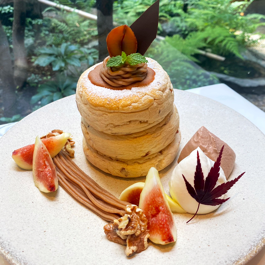 〔秋限定!9/20よりご提供〕栗といちじくのモンブランパンケーキ